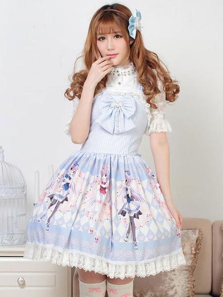 Milanoo Classic Lolita JSK Dress Light Sky Blue Pearls Bows Lolita Jumper Skirts