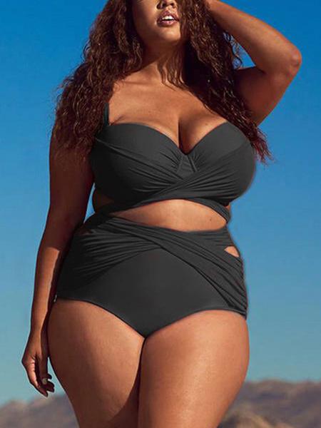 Milanoo Plus Size Swimwear Women Knotted Ruched High Waisted Bikini
