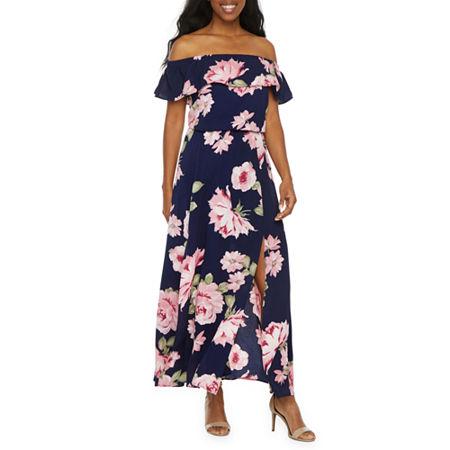 Premier Amour Off The Shoulder Floral Maxi Dress, 6 , Blue