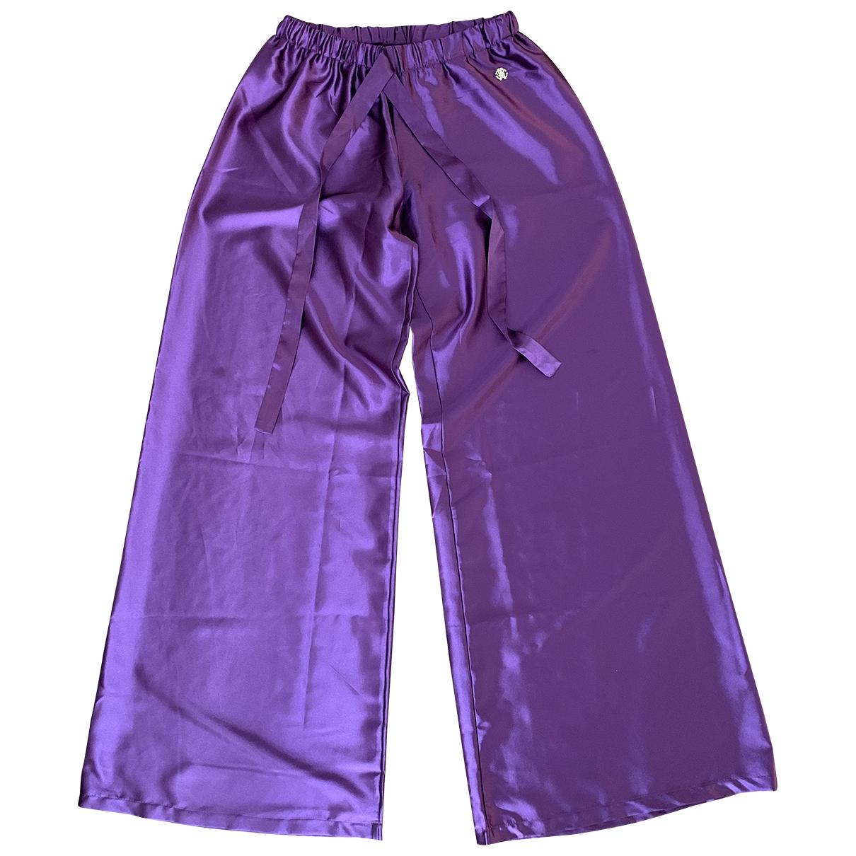 Roberto Cavalli \N Purple Silk Trousers for Women 42 IT