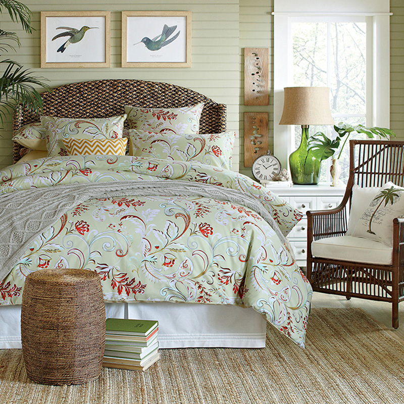 Plant Duvet Cover Set Four-Piece Set Reactive Printing Polyester Bedding Sets Fitted Sheet