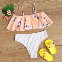 Girls Floral & Striped Print Flounce Bikini Swimsuit