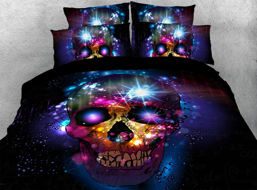 3D Starry Skull 4-piece No-fading Bedding Sets Durable Digital Bedding Zipper Duvet Cover with Non-slip Ties