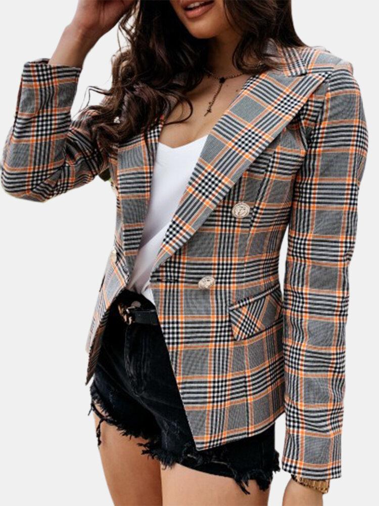 Plaid Print Long Sleeve Lapel Casual Blazers For Women
