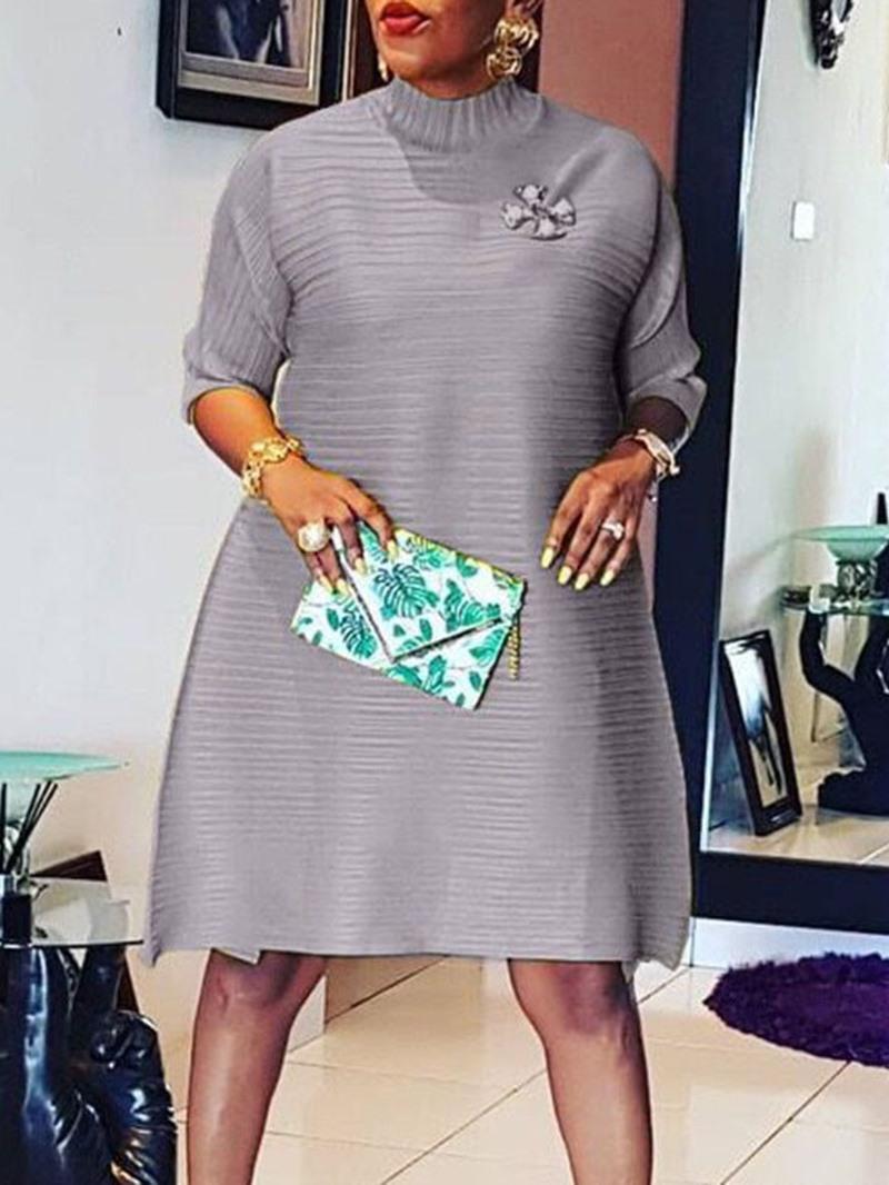 Ericdress Knee-Length Half Sleeve Stand Collar High Waist Pullover Dress