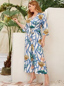 Plus Geo & Tropical Print Belted Culotte Jumpsuit