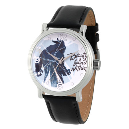 Disney Beauty and the Beast Mens Black Leather Strap Watch-Wds000309, One Size , No Color Family