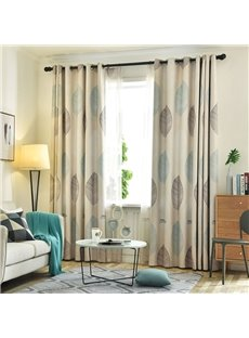 High Quality Modern Decoration Leaf Grommet Top Sheer Curtain