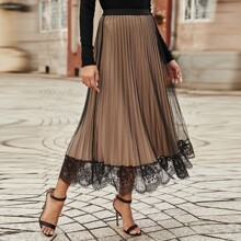 Contrast Lace Mesh Overlay Pleated Skirt