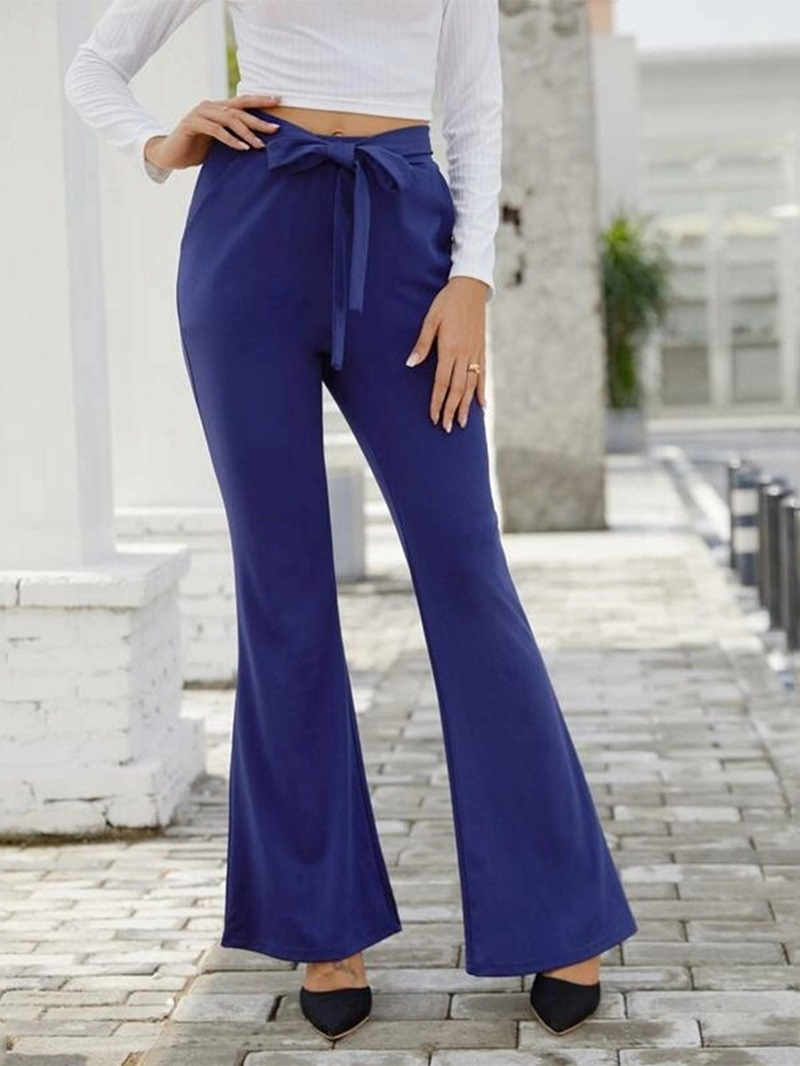 Ericdress Slim Plain High Waist Full Length Casual Pants