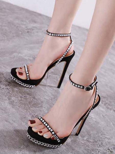Milanoo Women\'s Sexy Sandals High Heels Open Toe Stiletto Heel Rhinestones Chic Apricot Ankle Strap Sexy Sandals