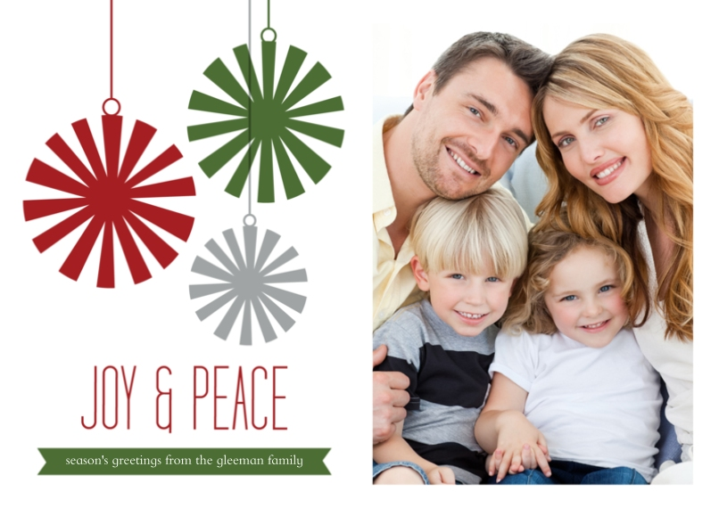 Holiday Photo Cards 5x7 Cards, Premium Cardstock 120lb with Scalloped Corners, Card & Stationery -Joy & Peace Ornament
