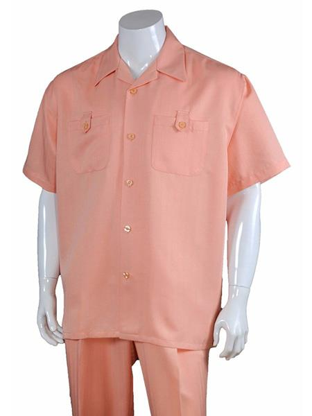 Men's Solid Casual 5 Button 100% Polyester Short Sleeve Walking Suits