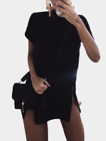 Yoins Black High Neck Zipper Detail Short Sleeves Mini Dress
