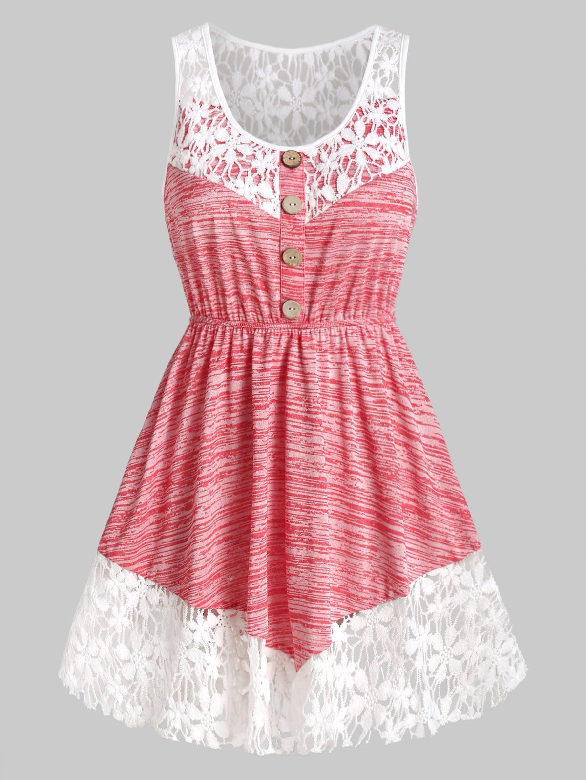 Marled Contrast Lace Tank Top