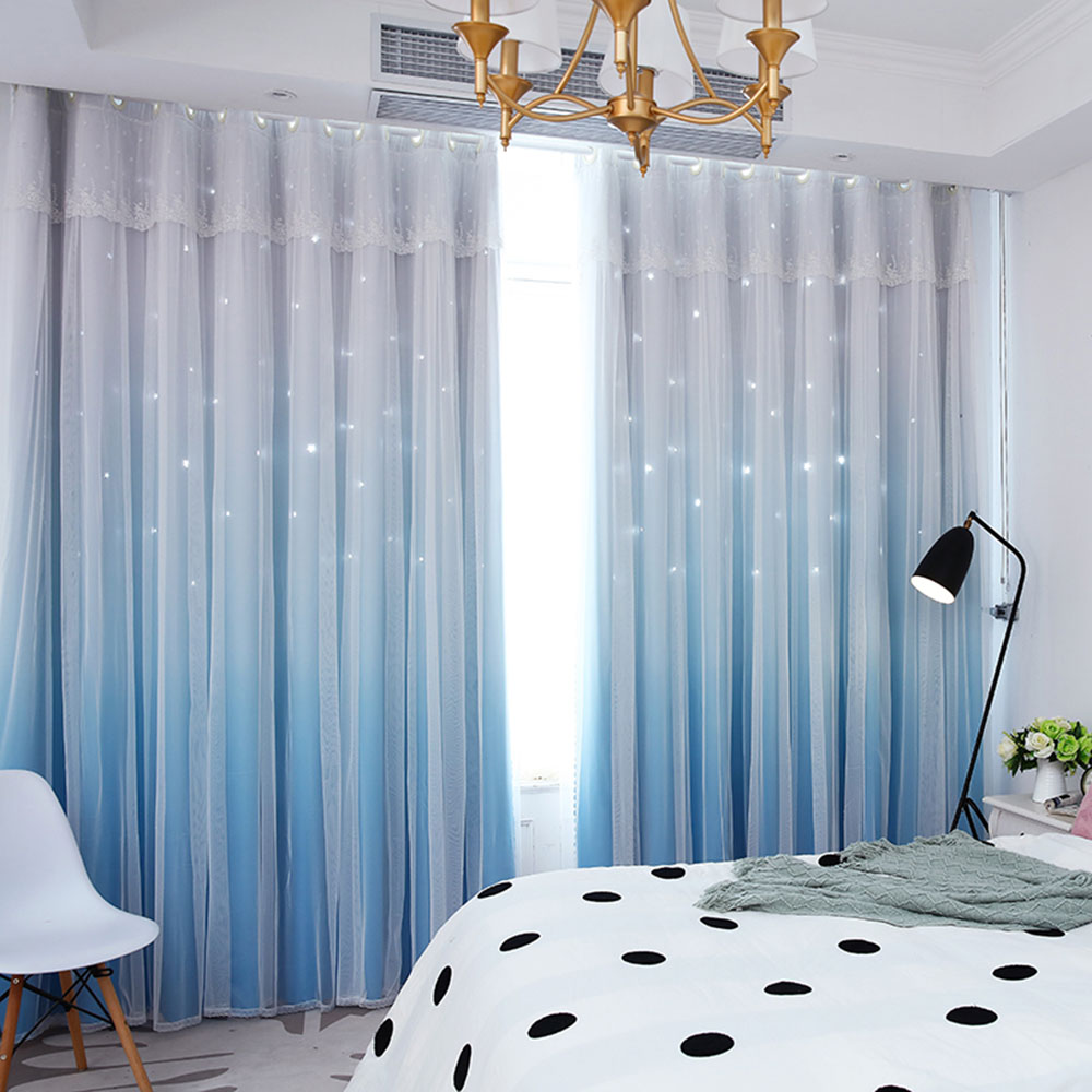 Romantic Princess Color Gradient Star Hollowed-out Custom Blackout Curtain Cloth and Sheer Sewing Together Double Pinch Pleat Curtain