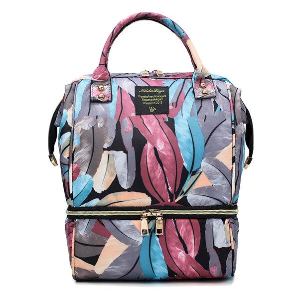 Nylon Waterproof Printed Shoulder Bag Insulation Large Capacity Mummy Bag Diaper Bag For Women