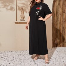 Plus Floral Embroidered Maxi Shirt Dress