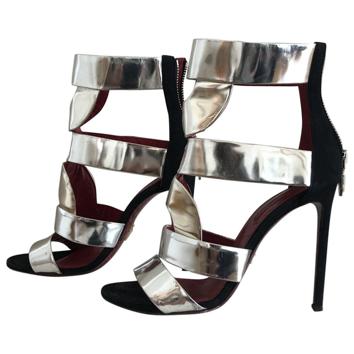 Cesare Paciotti \N Silver Patent leather Sandals for Women 37 EU