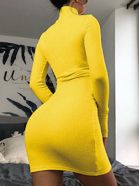 Milanoo Bodycon Dresses Stand Collar Long Sleeves Pencil Dress