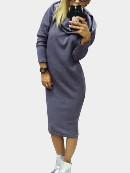 Yoins Grey Long Sleeves Hooded Midi Jumper Dress