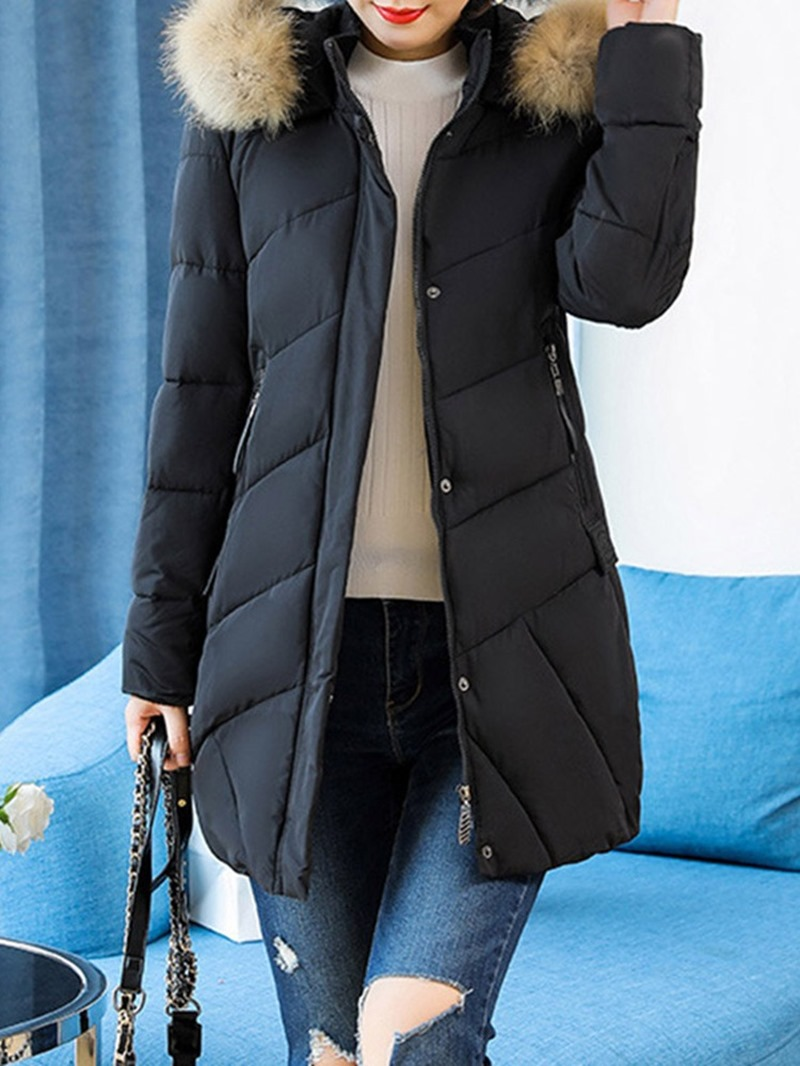 Ericdress Hooded Thick Plain Zipper Mid-Length Long Sleeves Coat