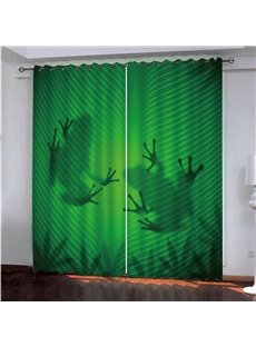 Green Ground Frogs' Shadow Polyester Blackout 3D Animal Print Curtains