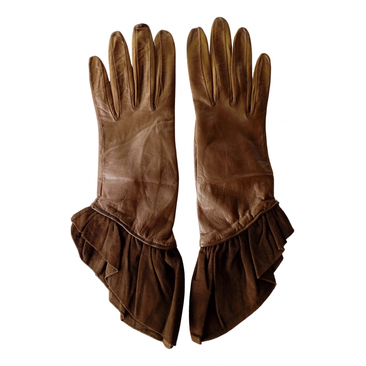 Dior \N Camel Leather Gloves for Women 6.5 Inches