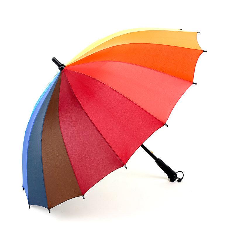 16k Rib Color Rainbow Fashion Long Handle Straight Anti-UV Sun/Rain Stick Golf Umbrella