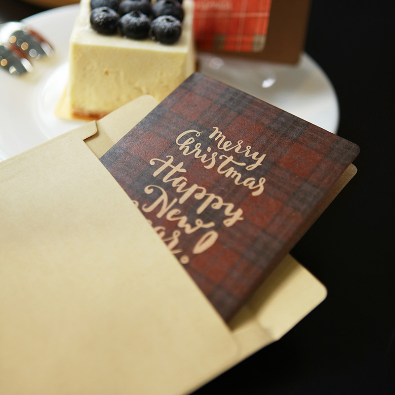 Classic Plaid Kraft Paper Color Fawn Folding Christmas Card