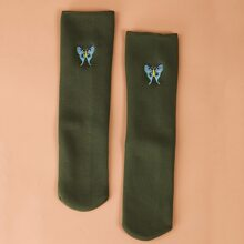 Butterfly Embroidery Crew Socks