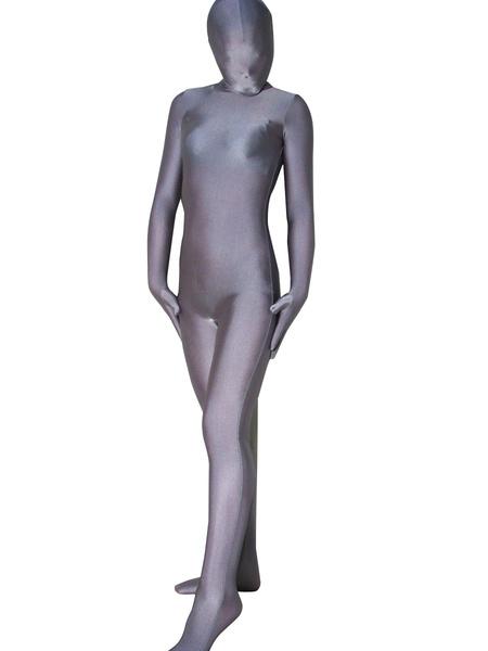 Milanoo Halloween Unisex Silver Grey Lycra Spandex Zentai Suit