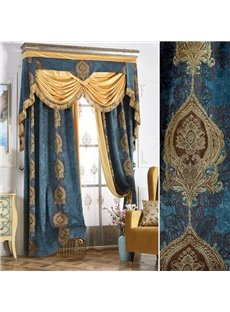 High Shading Degree Blue 2-Pieces Jacquard Grommet Top Curtain
