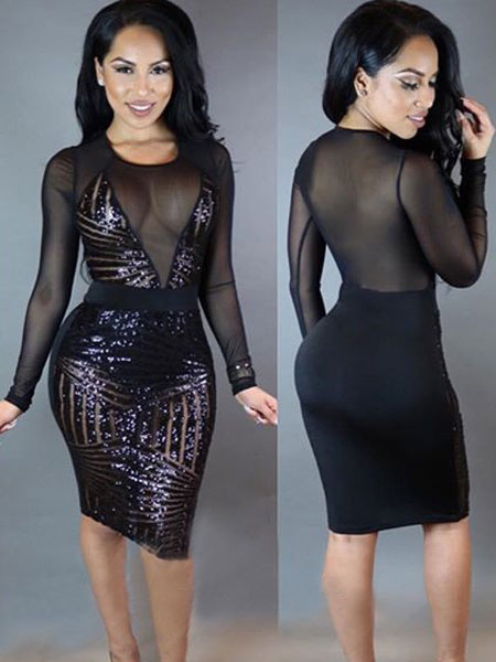 Milanoo Black Bodycon Dress Long Sleeve Round Neck Sequined Club Dresses For Women