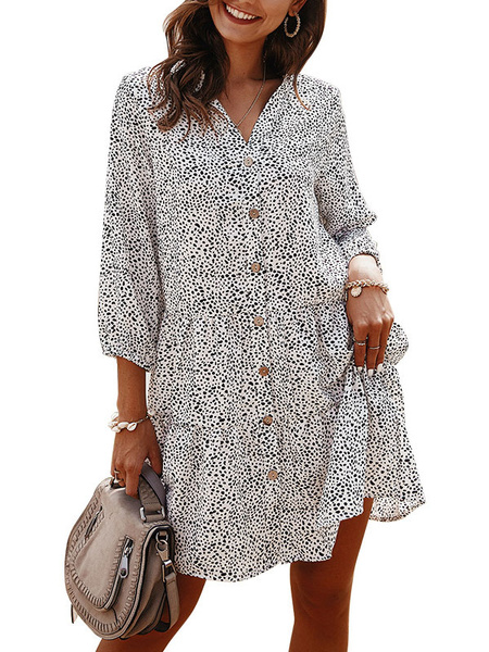 Milanoo Summer Dresses V Neck Floral Print Button Up Short Sundress