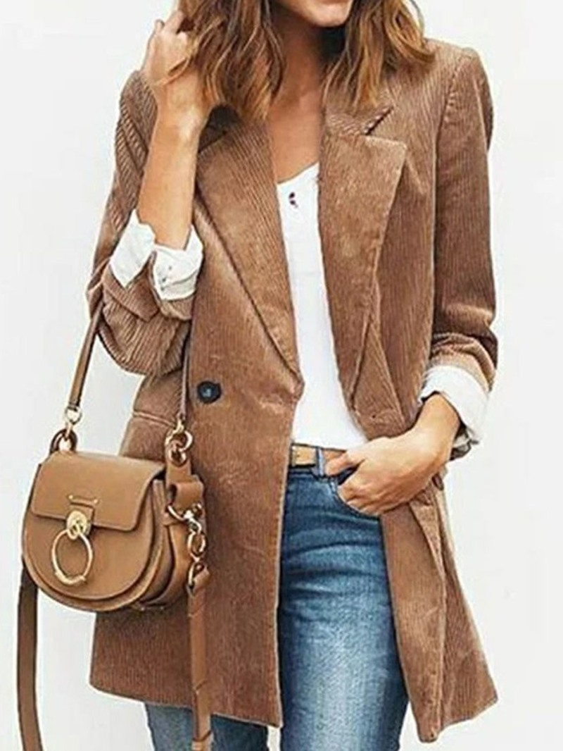 Ericdress Plain Long Sleeve Lapel Mid-Length Casual Blazer