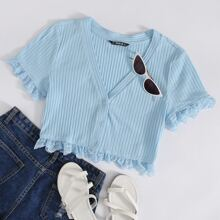Lace Trim Button Up Crop Tee