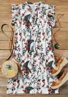 Leaf Floral Drawstring V-Neck Mini Dress - White