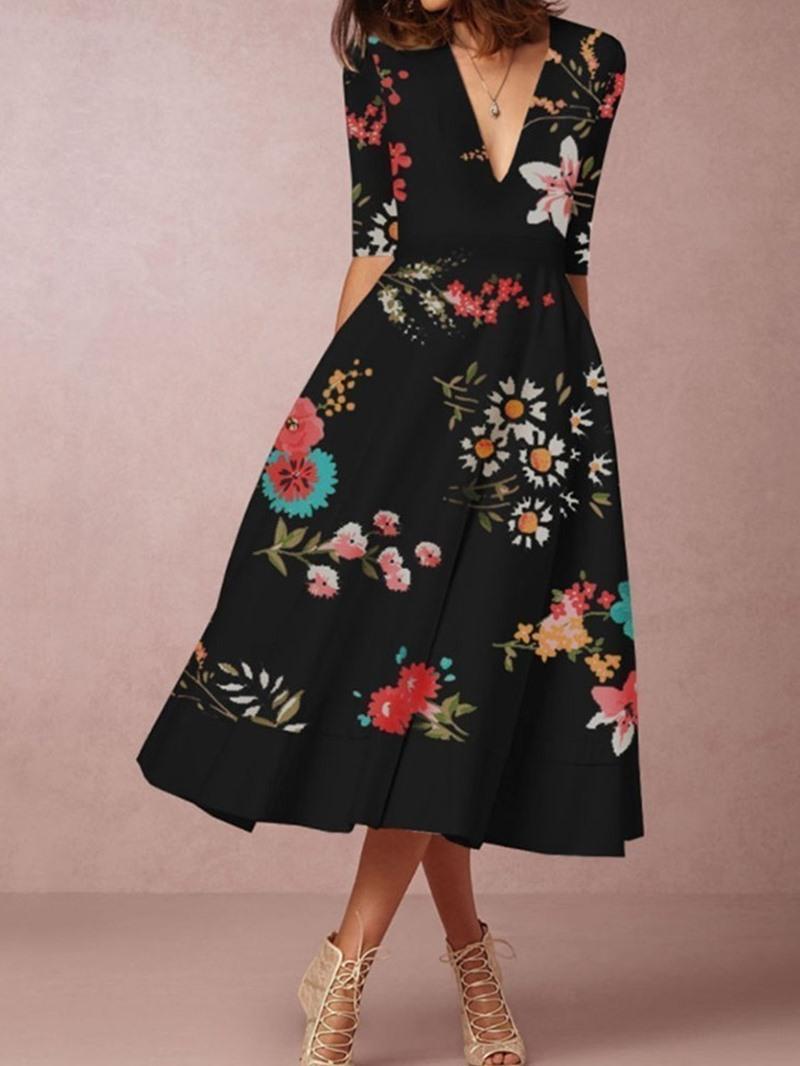 Ericdress Half Sleeve Mid-Calf V-Neck Summer A-Line Dress