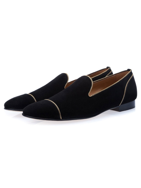 Milanoo Mens Black Suede Loafers Shoes Prom Shoes
