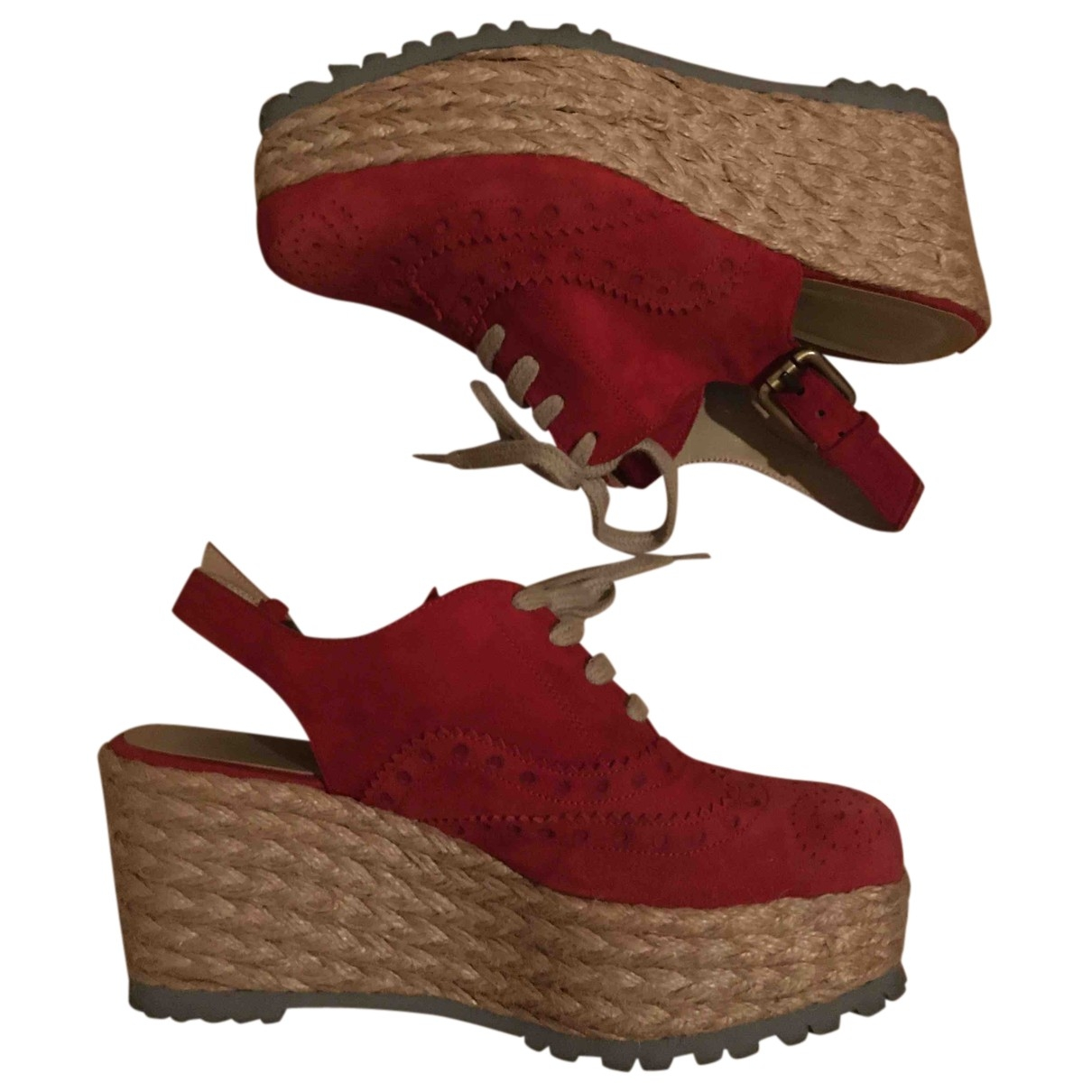 Non Signé / Unsigned \N Red Suede Espadrilles for Women 36 EU