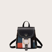 Color Block Flap Backpack