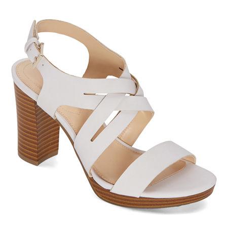 Liz Claiborne Womens Prime Heeled Sandals, 8 1/2 Wide, White