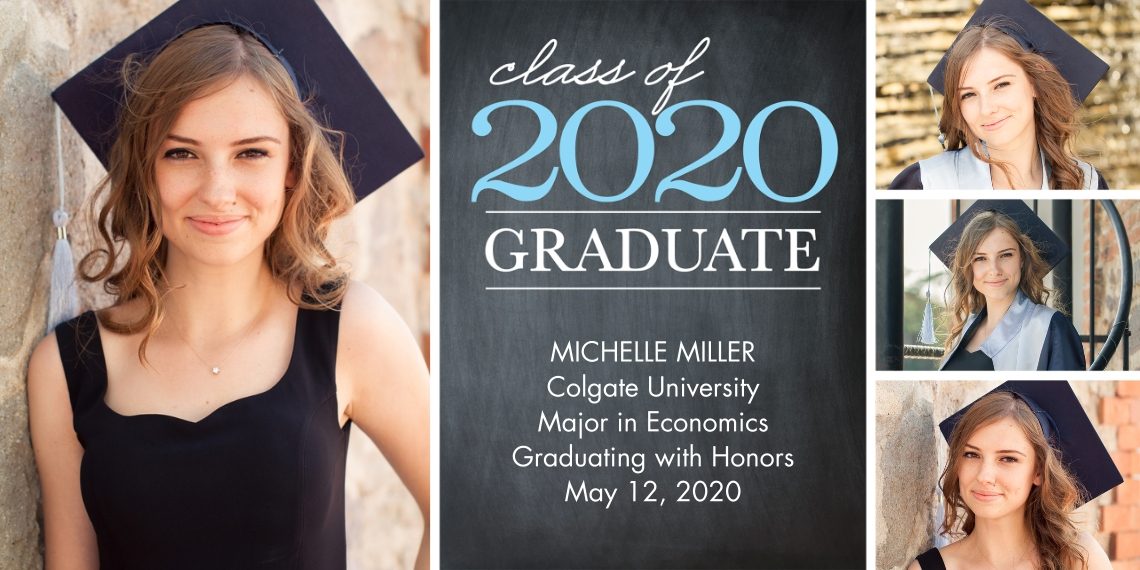 2020 Graduation Announcements Flat Matte Photo Paper Cards with Envelopes, 4x8, Card & Stationery -Graduation Class 2020 by Tumbalina
