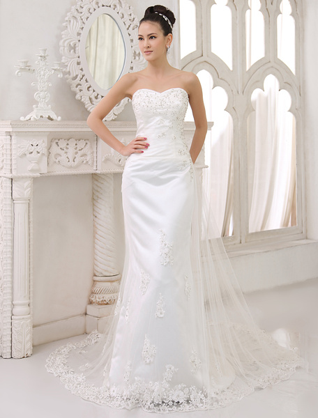 Milanoo Wedding Dresses Strapless Satin Lace Applique Bridal Dress Sheath Sweetheart Neckline Beading Wedding Gown With Train
