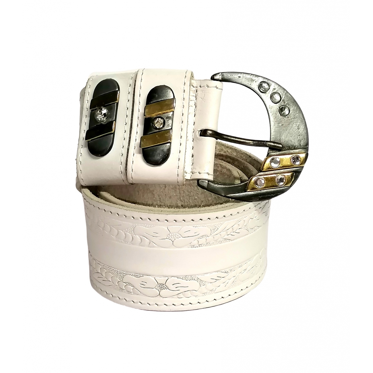 Non Signé / Unsigned \N White Leather belt for Women M International