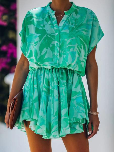 Milanoo Women Summer Dress Crewneck Printed Buttons Layered Midi Dress