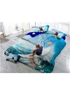 Desert Cool Surfing Wear-resistant Breathable High Quality 60s Cotton 4-Piece 3D Bedding Sets