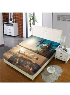 Wishing Bottles On The Beach Reactive Printing 1-Piece Polyester Bed Cover / Mattress Cover