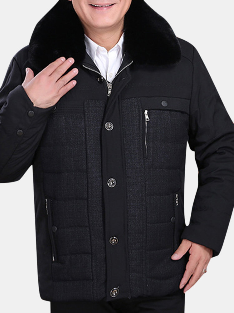 Winter Windproof Breathable Thicken Fleece Zipper Buttons Quality Warm Coat